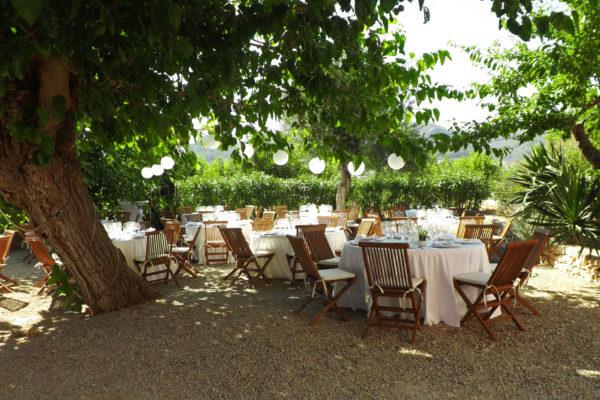 Der schön begrünte Garten bietet die perfekten Rahmenbedingungen für ein schattiges Dinner bis zu 60 Personen