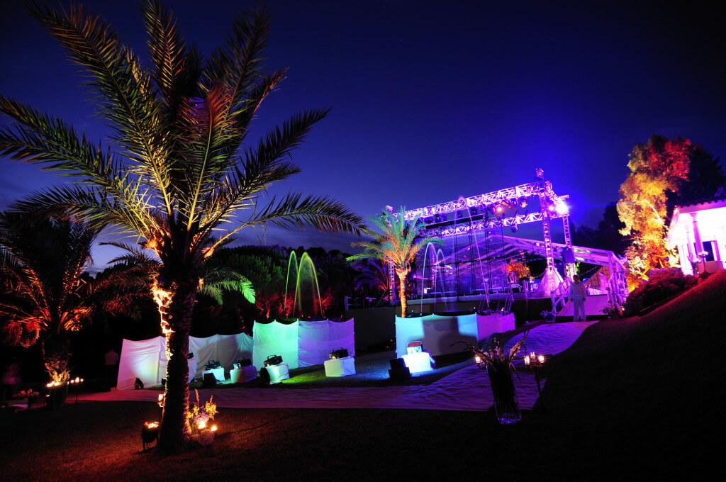 Mallorca Location - Bühnenaufbau für Liveband auf der Finca Arabe