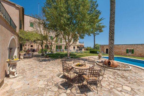 Die Terrasse mit Pool und Palmen