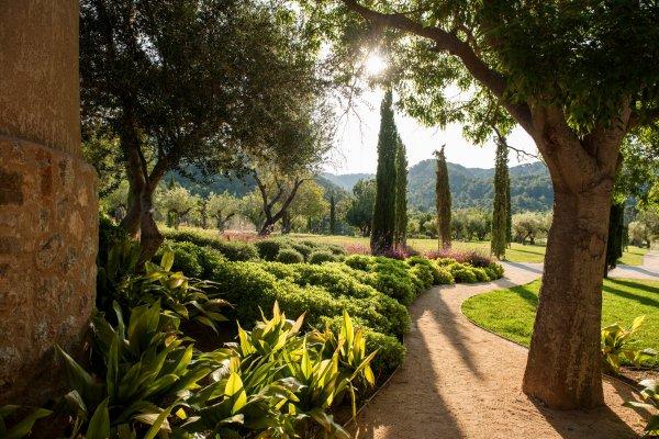 Spaziergang im Schatten der Bäume durch das Anwesen